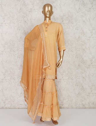 Peach cotton punjabi sharara suit in festive