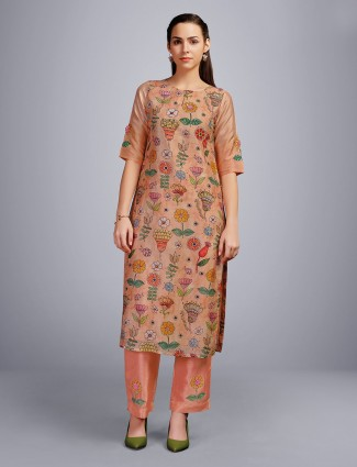 Peach cotton round keyhole neck kurti