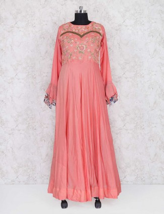 Peach cotton silk anarkali suit