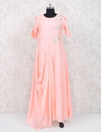 Peach cotton silk designer floor touching kurti
