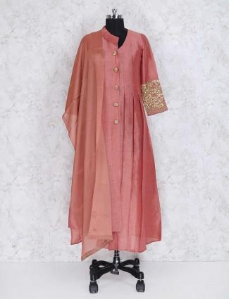 Peach cotton silk festive wear punjabi suit