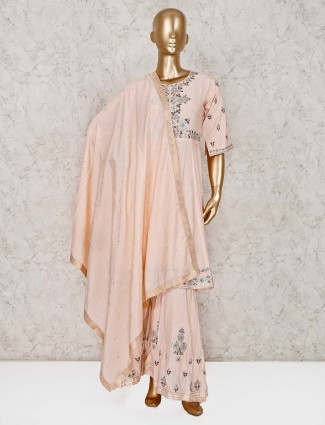 Peach cotton silk wedding punjabi palazzo suit