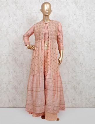 Peach cotton wedding wear indo western palazzo suit