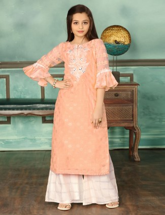 Peach cotton wedding wear palazzo suit