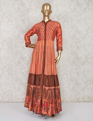 Peach designer cotton silk anarkali suit