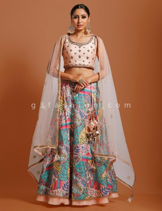 Peach designer cotton silk lehenga choli