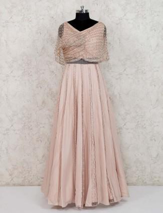 Peach designer georgette gown for wedding