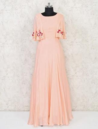 Peach designer indowestern style salwar suit in cotton silk