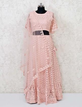Peach designer marriage funtion lehenga choli