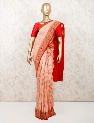 Peach designer saree in muga silk