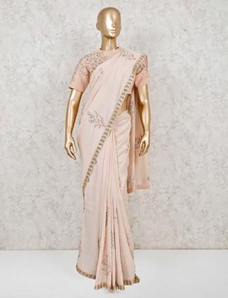Peach designer satin silk saree with readymade blouse