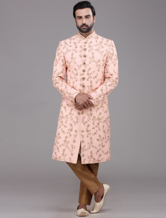 Peach designer silk mens sherwani