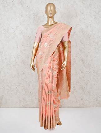 Peach dola silk beautiful saree