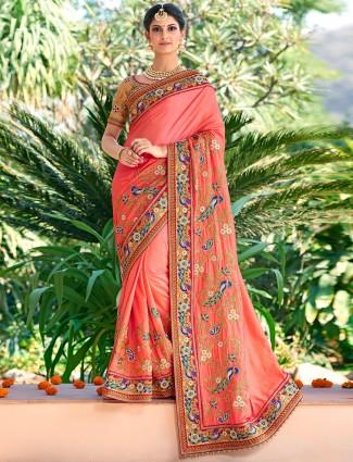 Peach dressy wedding wear silk saree