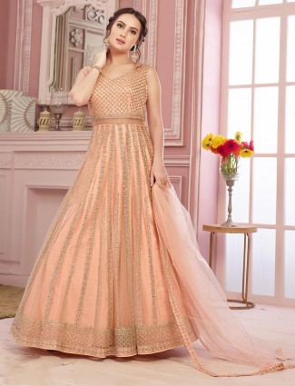 Peach embroidered anarkali suit in net