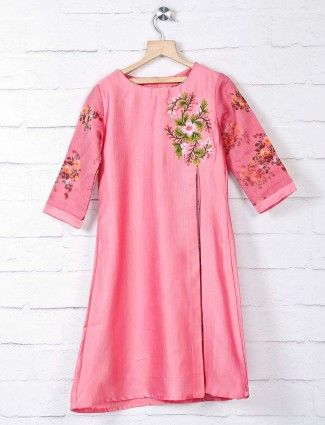 Peach embroidery cotton silk kurti