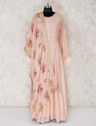 Peach festive cotton floor length anarkali suit