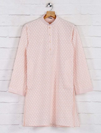 Peach festive function kurta suit in cotton