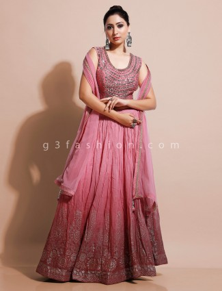Peach festive georgette lehenga choli design