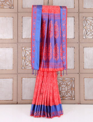 Peach festive wear designer saree