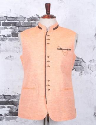 Peach festive wear nehru jacket