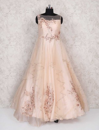 Peach floor lenght gown for party