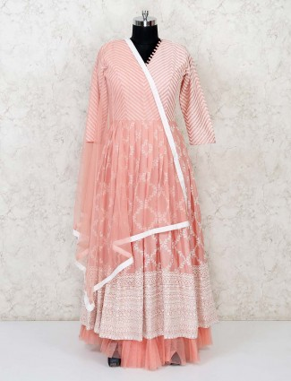 Peach floor length anarkali suit in cotton silk