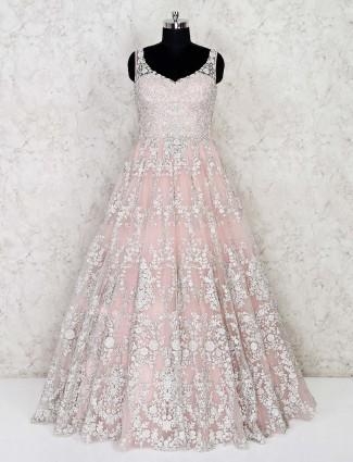 Peach floor length designer gown