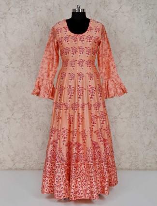 Peach floor length printed cotton silk anarkali suit