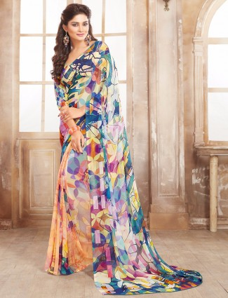 Peach georgette casual wear saree