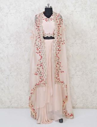 Peach georgette designer indo western lehenga suit