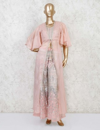 Peach georgette designer indo western sharara suit