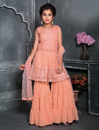 Peach georgette designer punjabi sharara suit