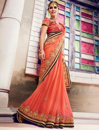 Peach georgette dressy designer saree