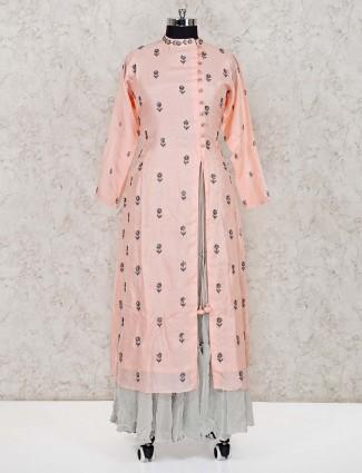 Peach georgette festive lehenga suit
