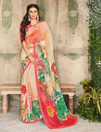 Peach georgette flower printed saree