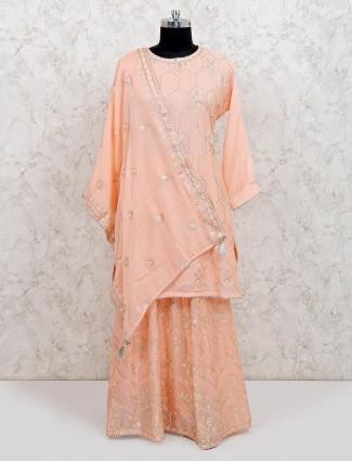 Peach georgette punjabi lehenga suit