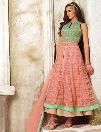 Peach green anarkali suit