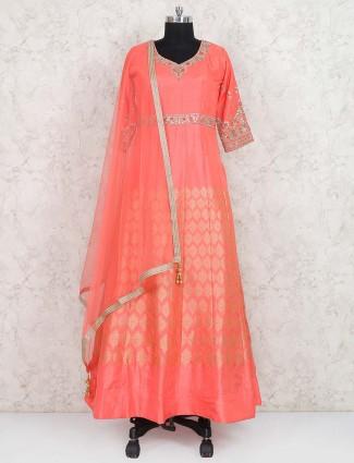 Peach hue banarasi silk floor length pakistani anarkali suit