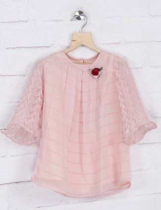 Peach hue casual georgette top