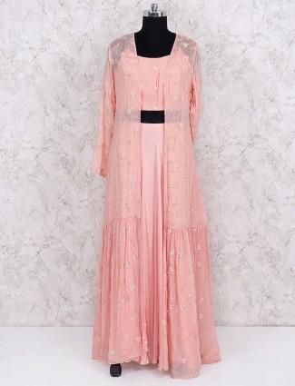 Peach hue chiffon jacket style lehenga choli