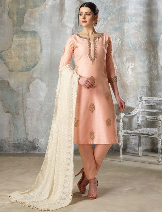 Peach hue colored cotton silk punjabi salwar suit