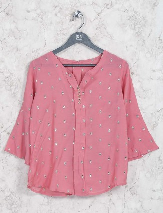 Peach hue cotton casual top