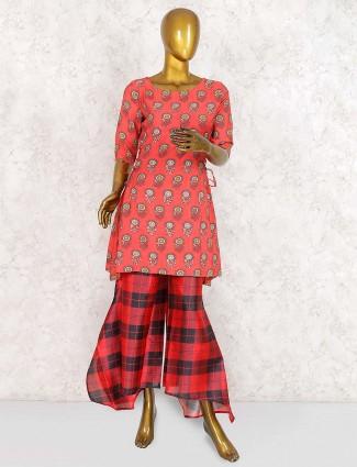 Peach hue cotton designer sharara suit