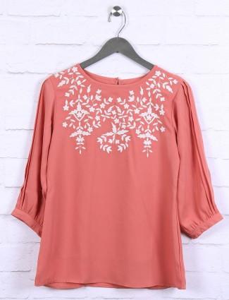 Peach hue cotton fabric top