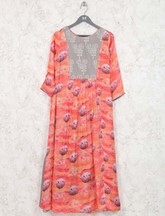 Peach hue cotton festive kurti