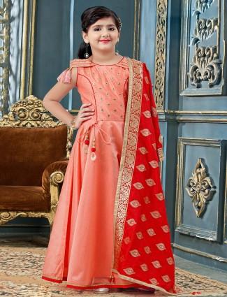 Peach hue cotton silk anarkali suit for girls