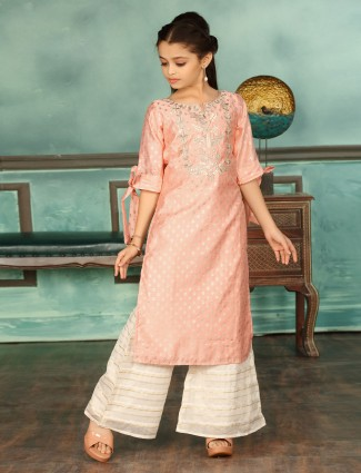 Peach hue cotton silk fabric palazzo suit