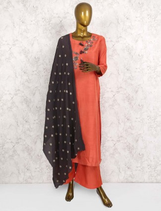 Peach hue cotton silk fabric punjabi salwar suit