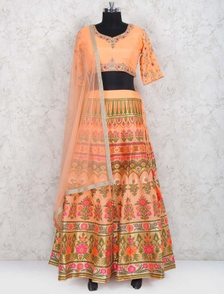 Peach hue cotton silk festive lehenga choli